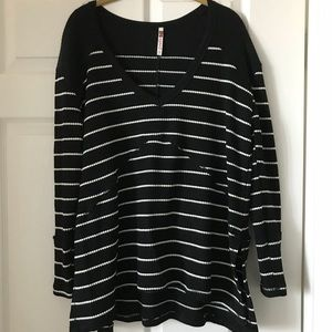 Black and White Striped Ribbed Sweater